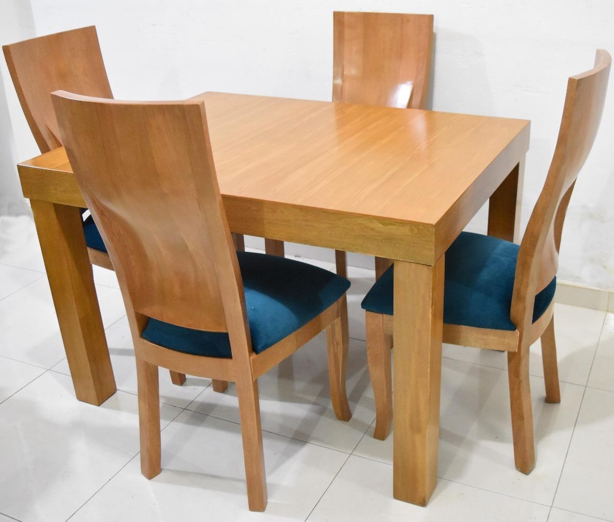 Comedor 4 puestos natural tapa madera en for Fotos de comedores de madera