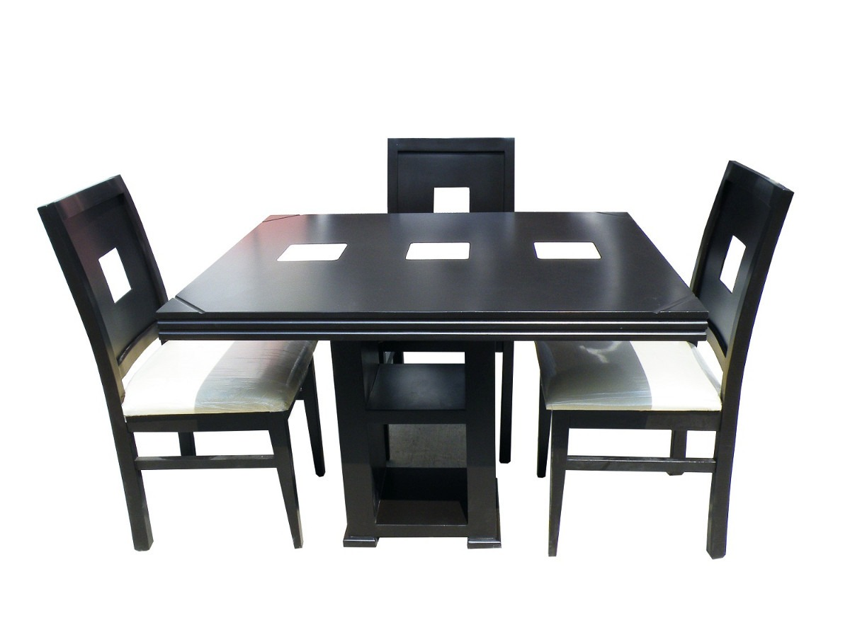 Comedor 4 sillas chocolate ceramica minimalista au1 for Sillas muebles