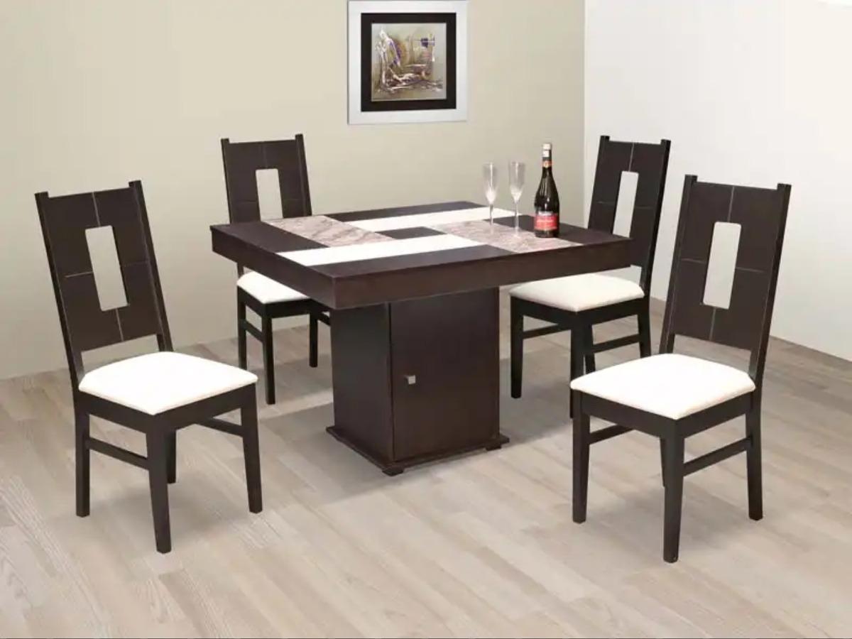 Comedor 4 sillas madera chocolate minimalista 5 for Comedor 4 sillas