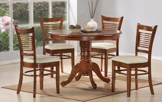 Comedor 4 sillas mesa redonda en madera sillas tapizadas for Comedor redondo extensible
