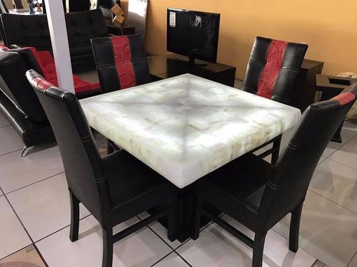 comedor 4 sillas moderno piedra onix minimalista mesa