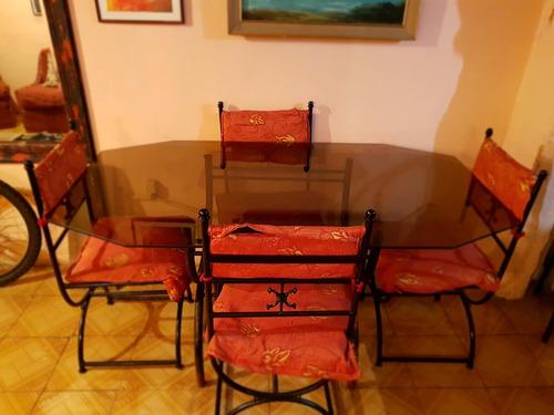 comedor 4 sillas (vidrio)