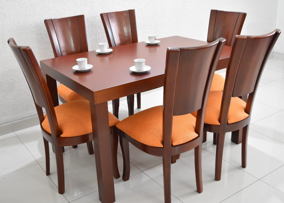 Comedor 6 puestos tapa madera en mercado libre for Comedor de muebles de madera blanca