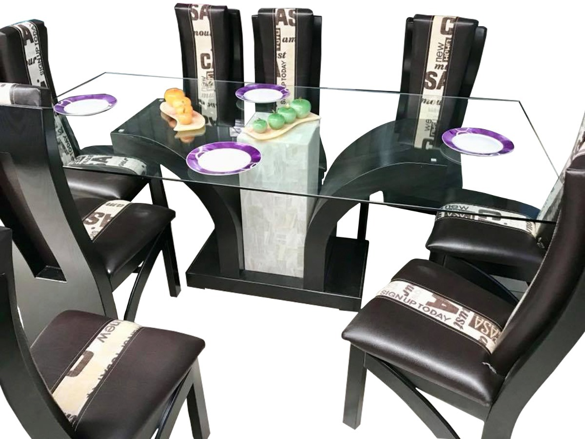 Comedor 6 sillas moderno minimalista mesa vidrio templado for Precios de comedores en vidrio