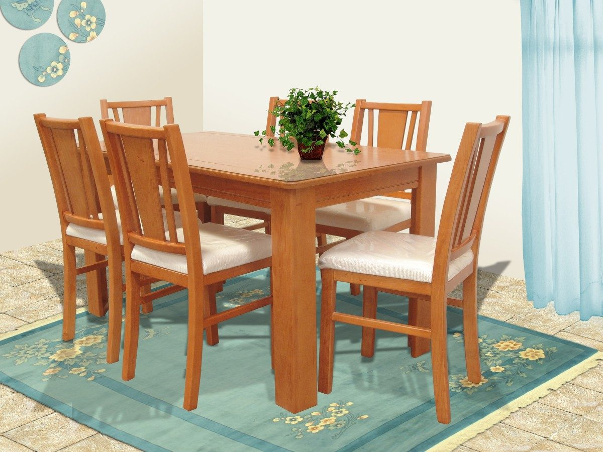 Comedor 6 sillas muebles el angel hm4 6 en for Muebles sillas comedor