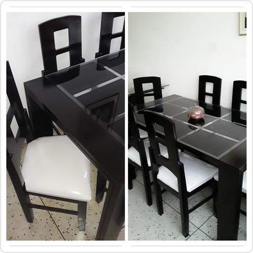 comedor 6 sillas vidrio esmerilado/negro. 6 puestos. nuevos