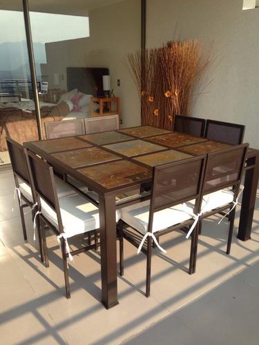 Comedor 8 personas cuadrado en fierro muebles y terrazas ...
