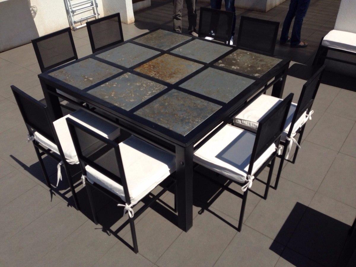 comedor 8 personas cuadrado en fierro muebles y terrazas