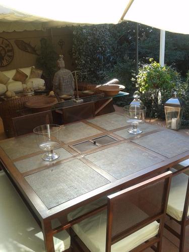 comedor 8 personas fierro con brasero muebles y terrazas