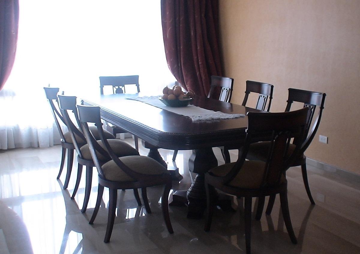 Comedor 8 puestos clasico madera cedro comino mueble hogar for Muebles seres