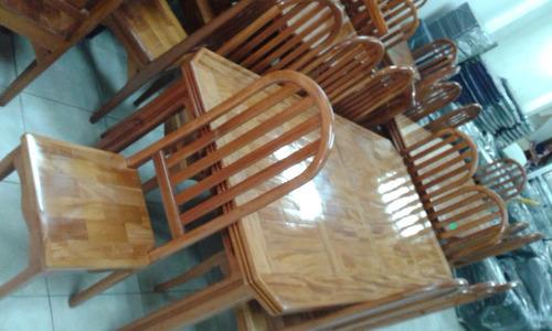 comedor 8 sillas apamate / caoba, tope parquet - nuevo