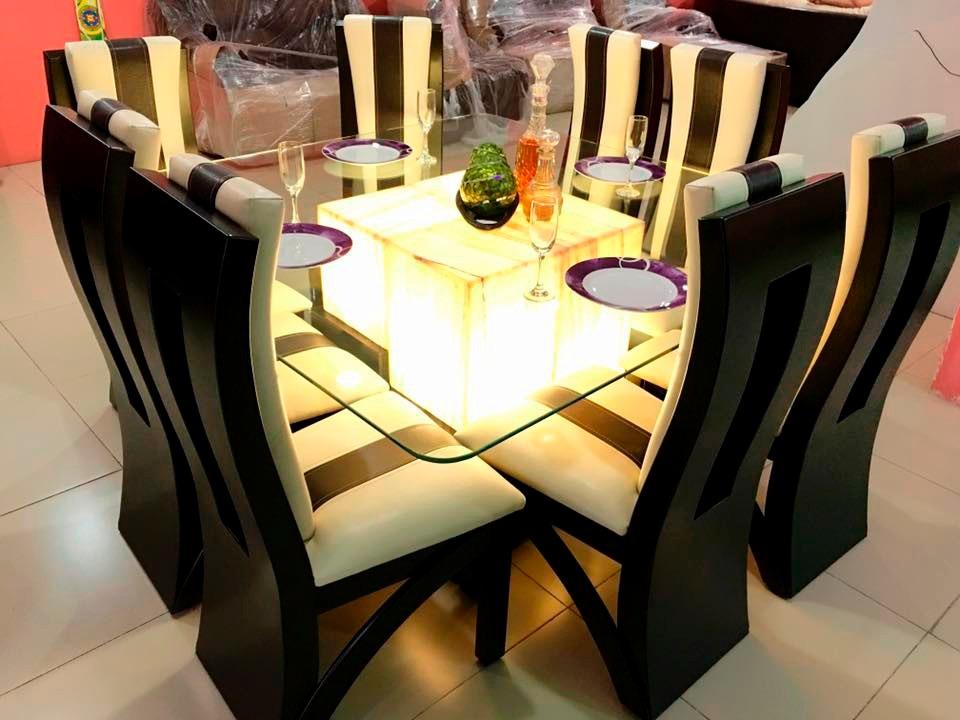 Comedor 8 sillas cristal onix comedores moderno 29 500 for Comedores redondos de cristal