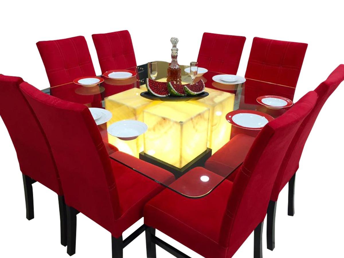 Comedor 8 sillas cristal onix comedores moderno 31 900 for Modelos de comedores redondos