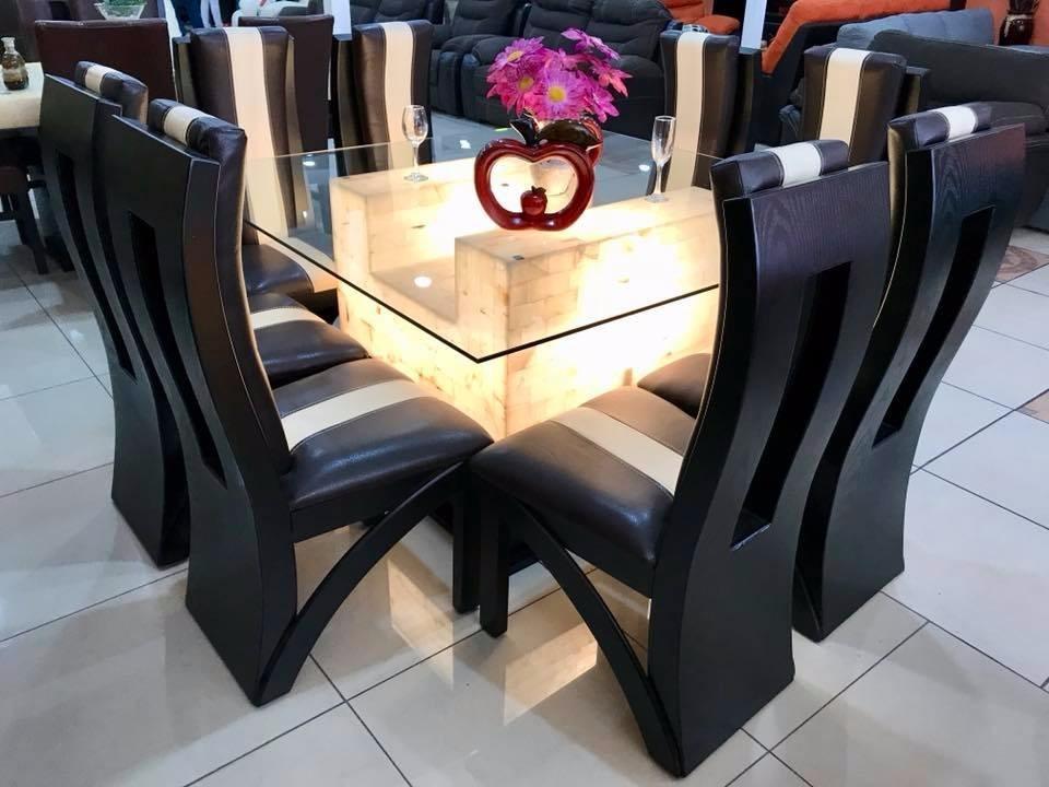 Comedor 8 sillas cristal onix comedores moderno 31 900 for Comedor 8 sillas