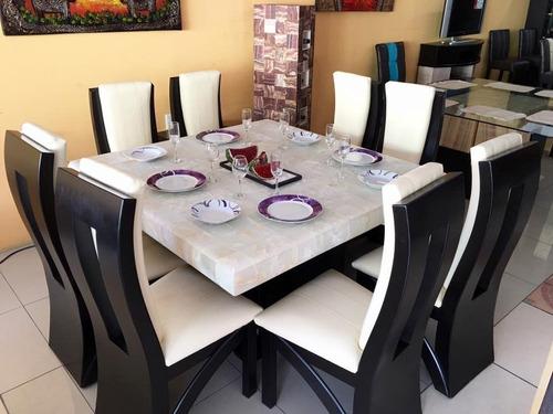 comedor 8 sillas cuadrado rectangular piedra onix comedores