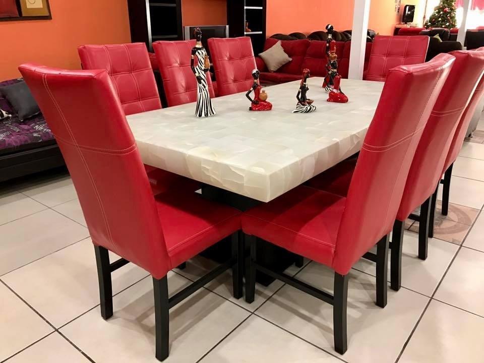 Comedor 8 sillas piedra onix moderno comedores 24 800 for Sillas rojas para comedor