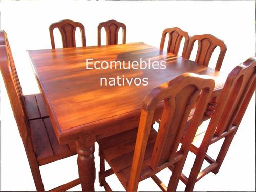 comedor algarrobo mesa 1.40 x 1.40 + 8 sillas, env. gratis