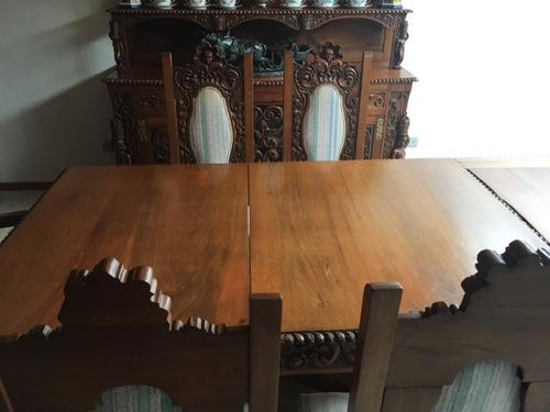 comedor antiguo para 8 personas tallado a mano en madera