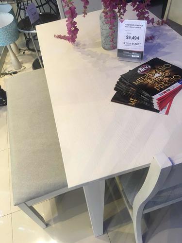 comedor aura gris (sillas, banca, mesa)