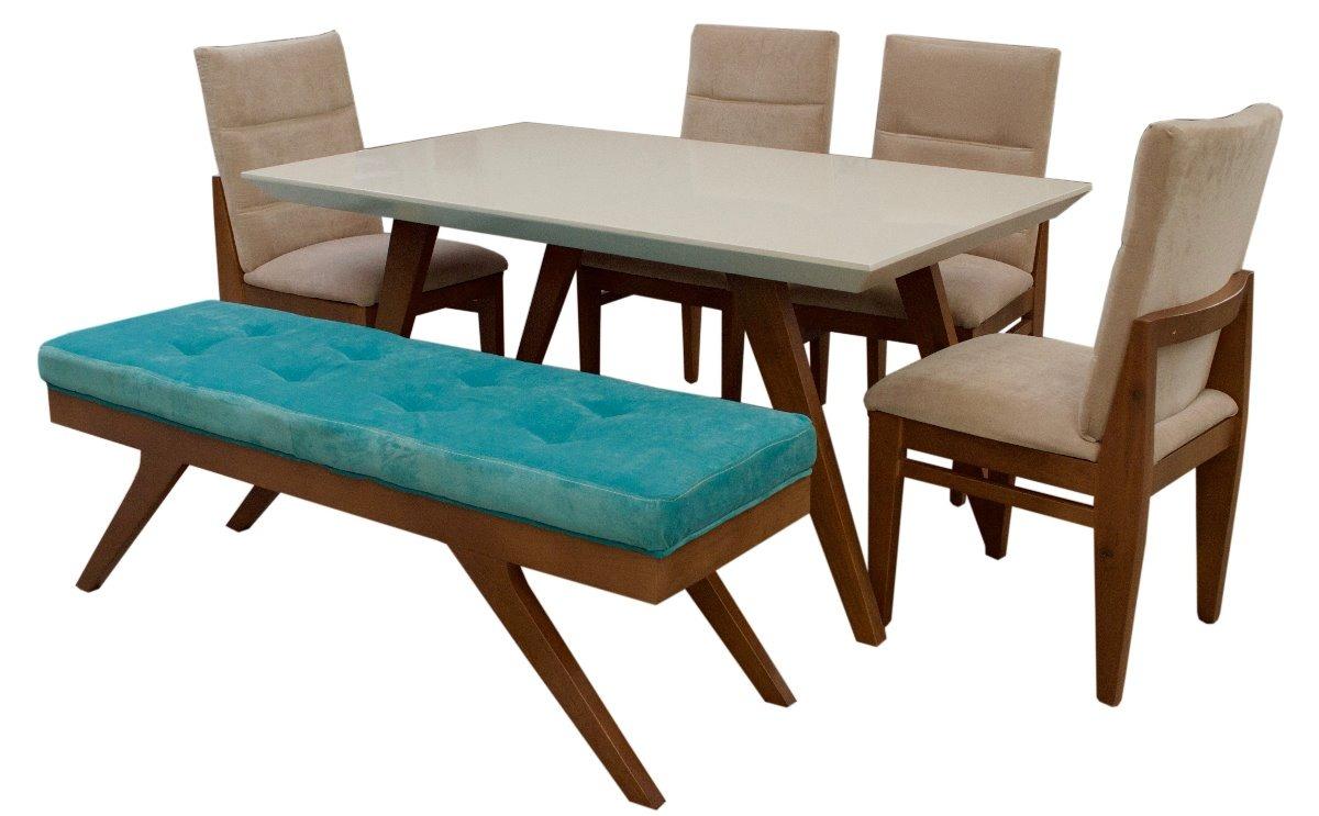 Comedor beyee fabou muebles 4 sillas y banca moderno for Sillas wengue comedor