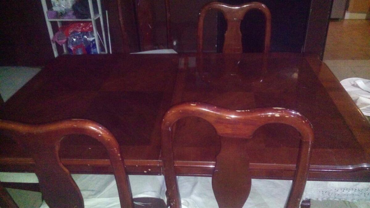 Comedor caoba frey 6 sillas vitrina 64 en for Comedor 6 sillas usado