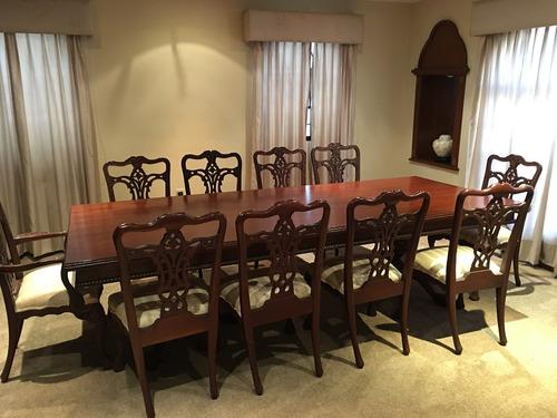 comedor  chippendale cedro,sillas, vitrina y trinchador
