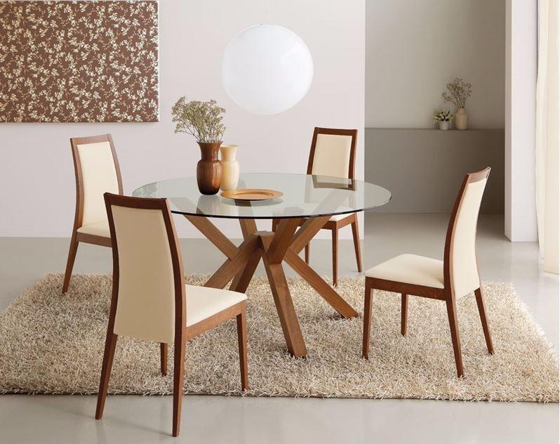 Comedor circular 4 sillas cubierta vidrio madera viva for Sillas para comedor redondo