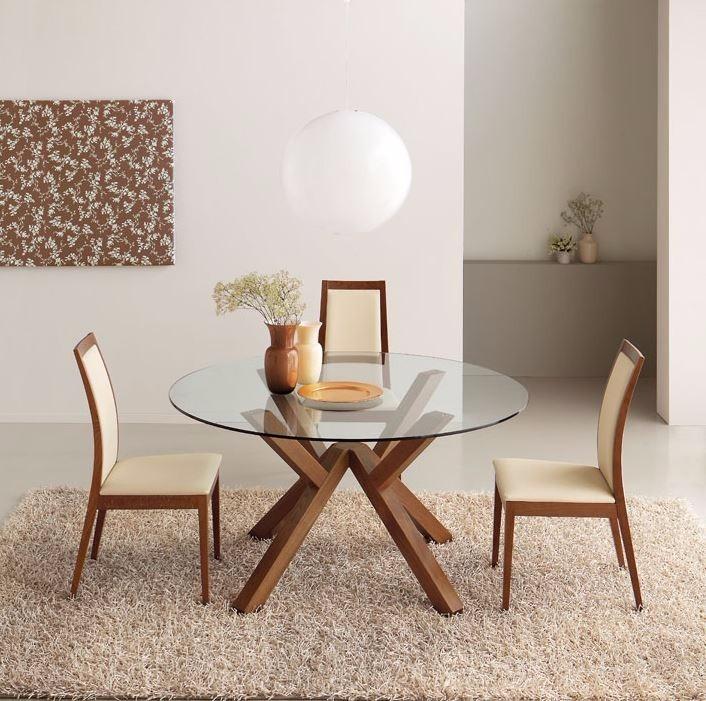 Comedor circular 4 sillas cubierta vidrio madera viva for Mesa vidrio redonda para comedor