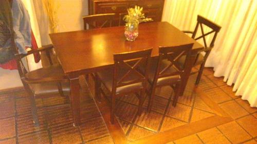 comedor con 6 sillas en madera maciza de 1.60 x 0.80