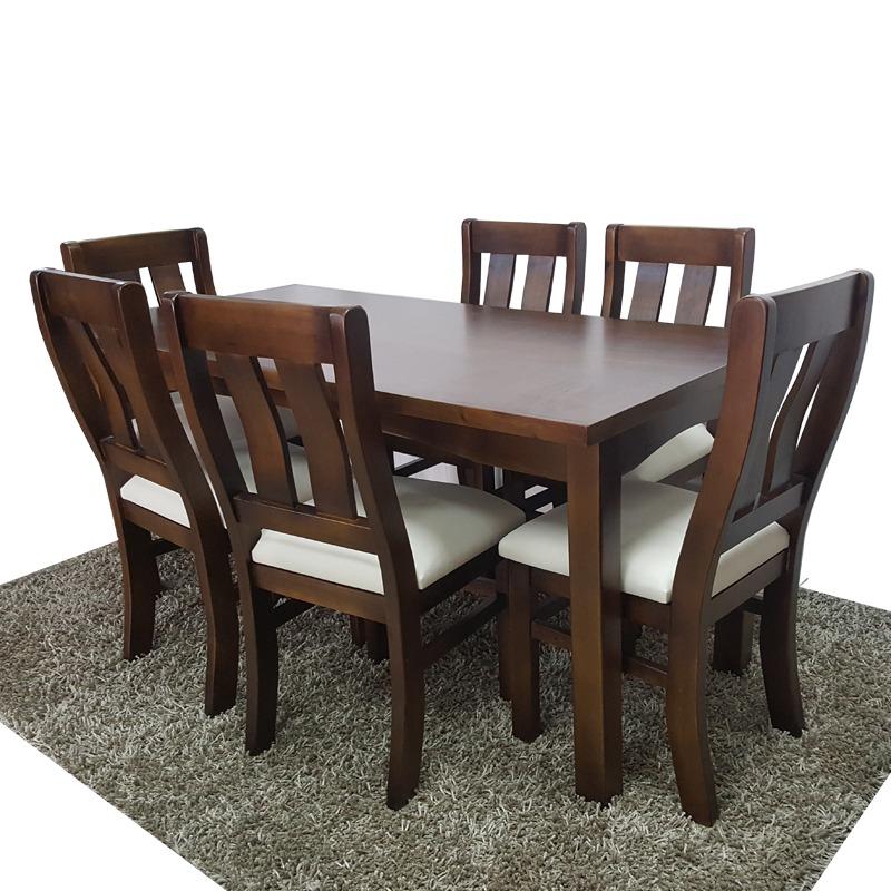 comedor con 6 sillas en madera maciza minimalista gh