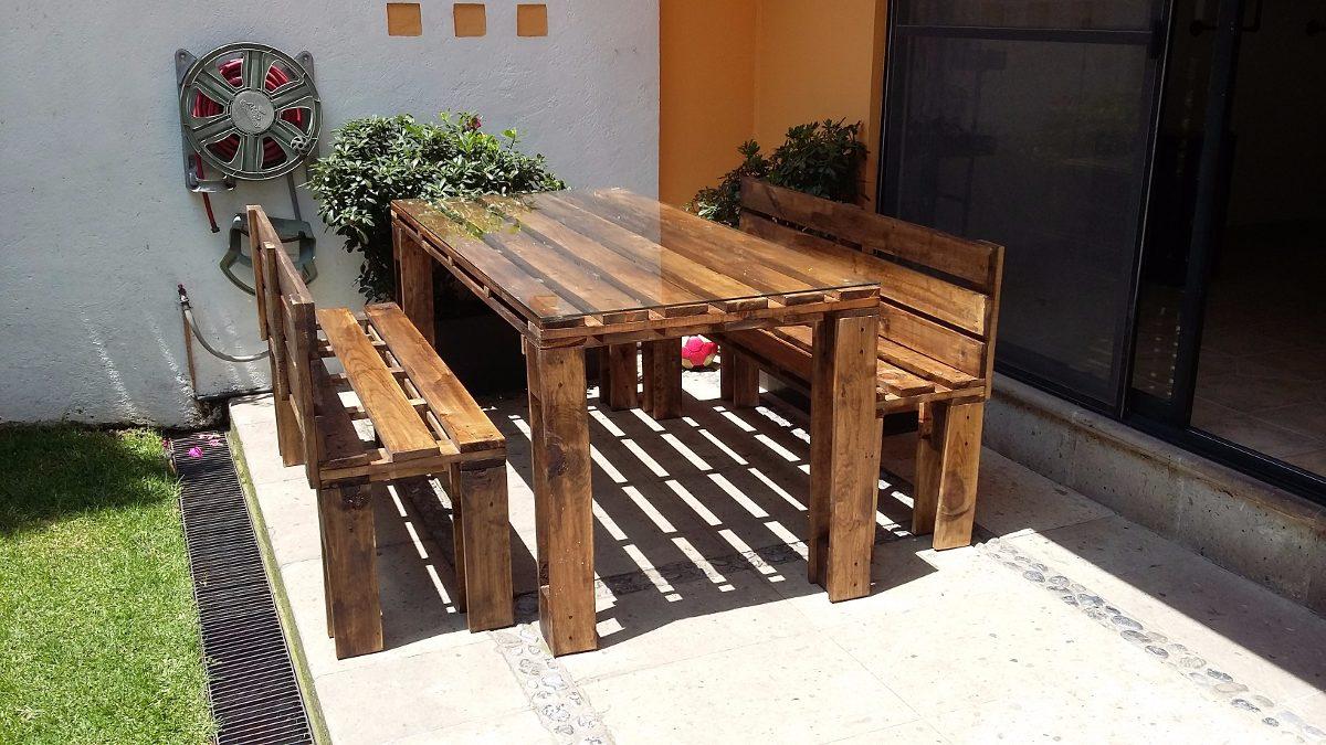 Comedor con bancas madera mesa estilo pallet tarima 6 en mercado libre - Bancas de madera para comedor ...