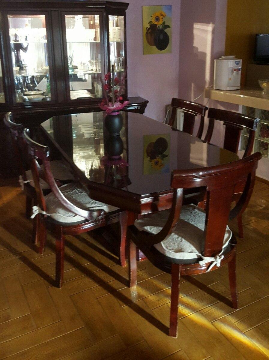 Comedor con vitrina madera 6 sillas 20 en for Comedor 6 sillas