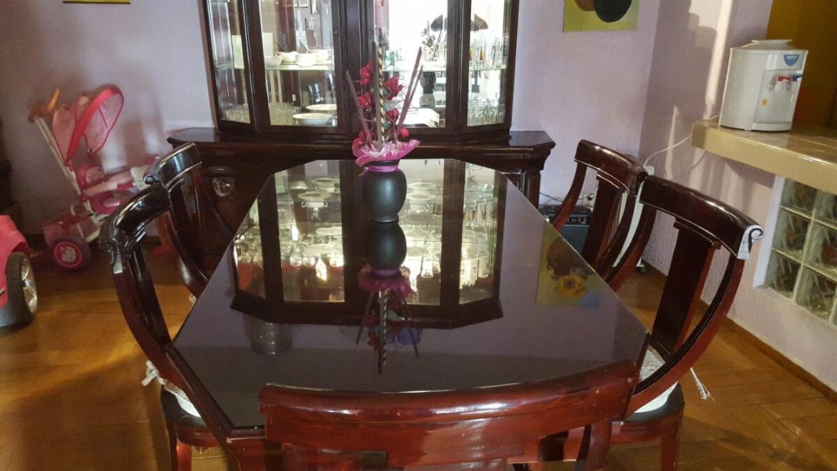 Comedor con vitrina madera 6 sillas 20 en for Comedor de madera 6 sillas