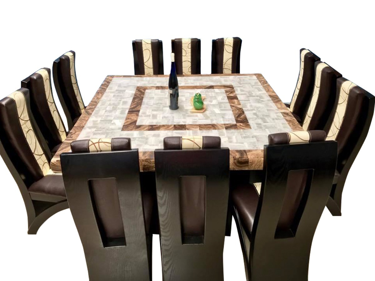 Comedor cuadrado cubierta de piedra onix 12 sillas for Comedor 10 personas