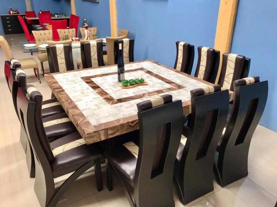 Comedor cuadrado cubierta de piedra onix 12 sillas for Comedor 8 personas cuadrado