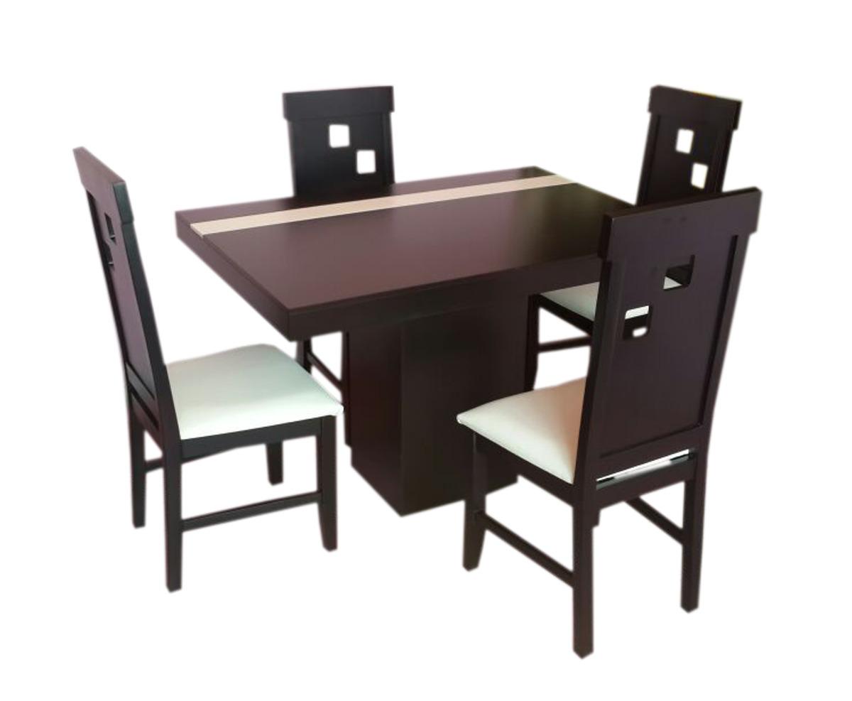 Comedor cuatro sillas chocolate minimalista economico for Comedor cuatro sillas