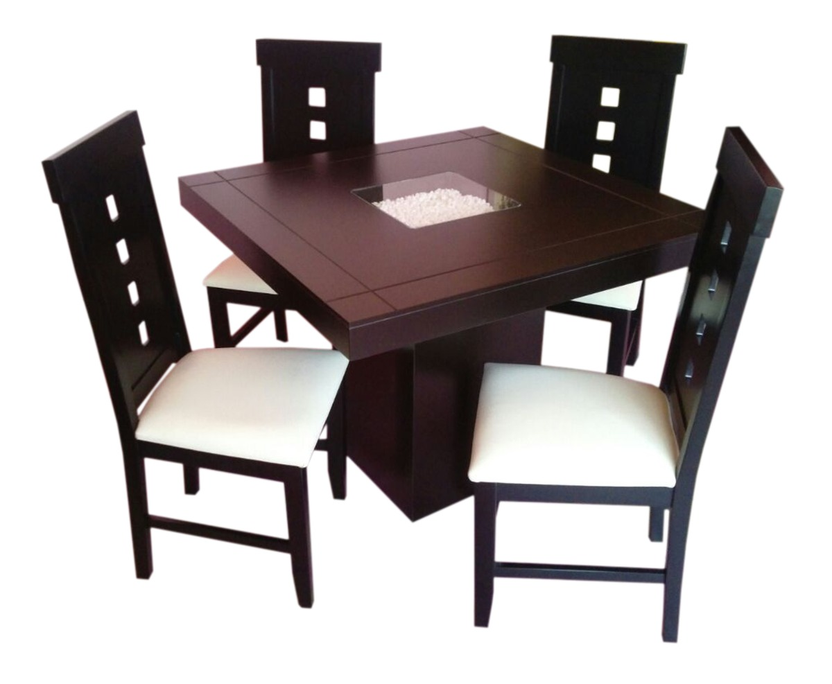 Comedor cuatro sillas chocolate minimalista econ mino for Sillas comedor marron chocolate