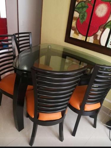 comedor de 4 puestos con sillas en cedro, vidrio 19 ml