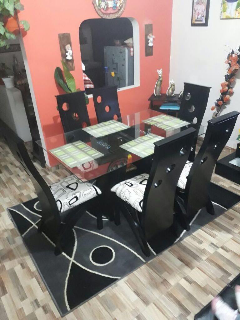 Comedor De 6 Puestos En Madera Nogal Entamborada Hermosos  # Direccion Muebles Caqueta Ibague