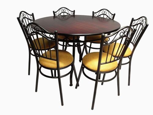 comedor de 6 sillas sobre liso rectangular y redondo.