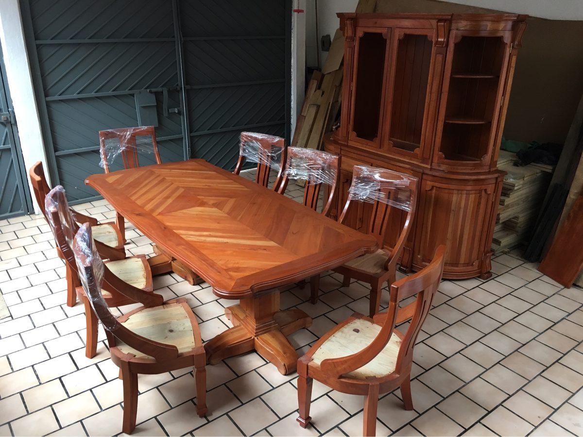 Comedor de 8 sillas madera 100 cedro estufado muy for Comedor 8 sillas