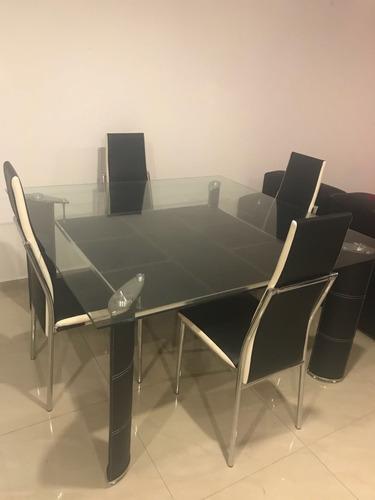 comedor de cristal, 6 sillas color negro