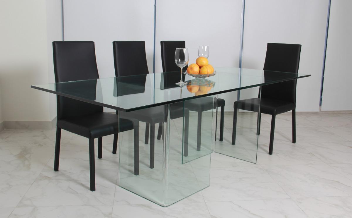 Comedor De Cristal Minimalista Y 6 Sillas Praga - $ 12,900.00 en ...