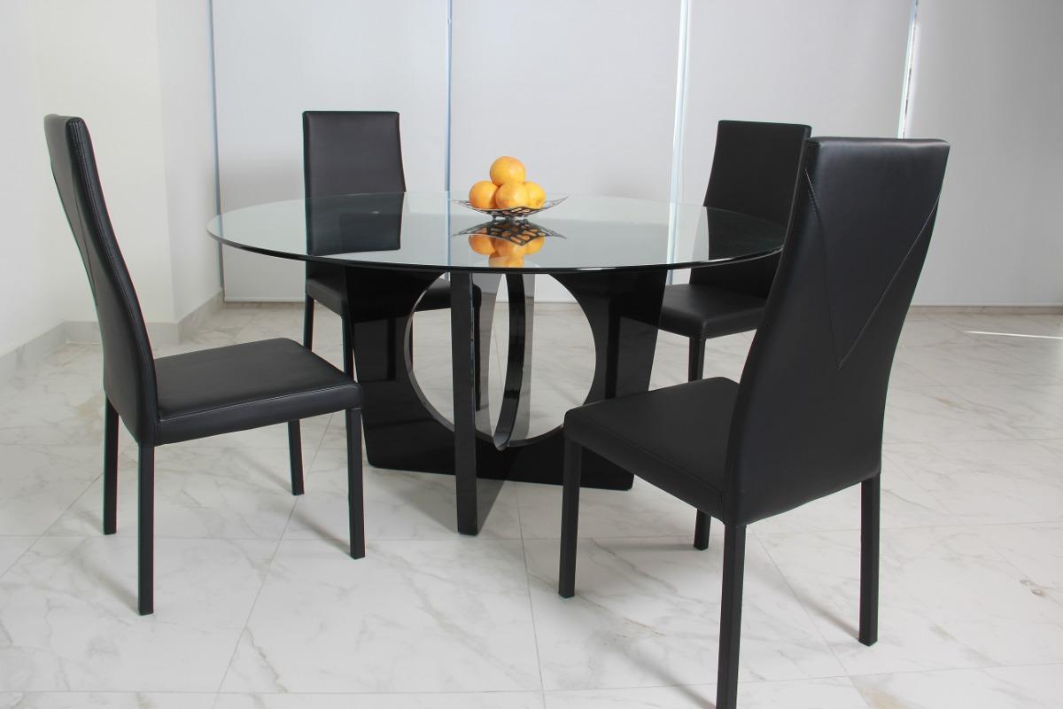 comedor de cristal redondo bari y 4 sillas 13