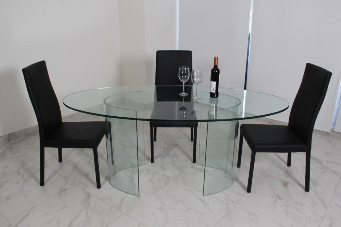 Comedor de cristal templado y 4 sillas roma 7 for Comedores redondos de cristal