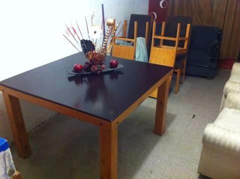 comedor de madera acabado de caoba c/6 sillas forro tipo ter