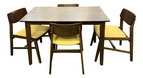 comedor de madera cafe nogal de 4 sillas mesa 120x76x75 nuevo envío gratis estilo miami