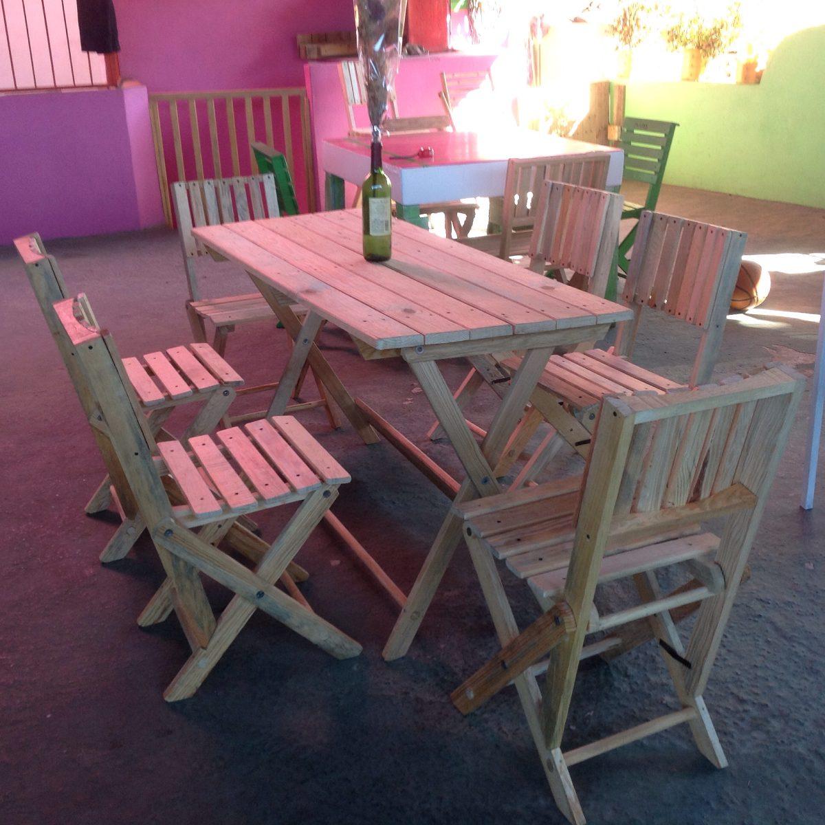 Comedor de madera con 6 sillas 2 en mercado libre for Comedor de madera