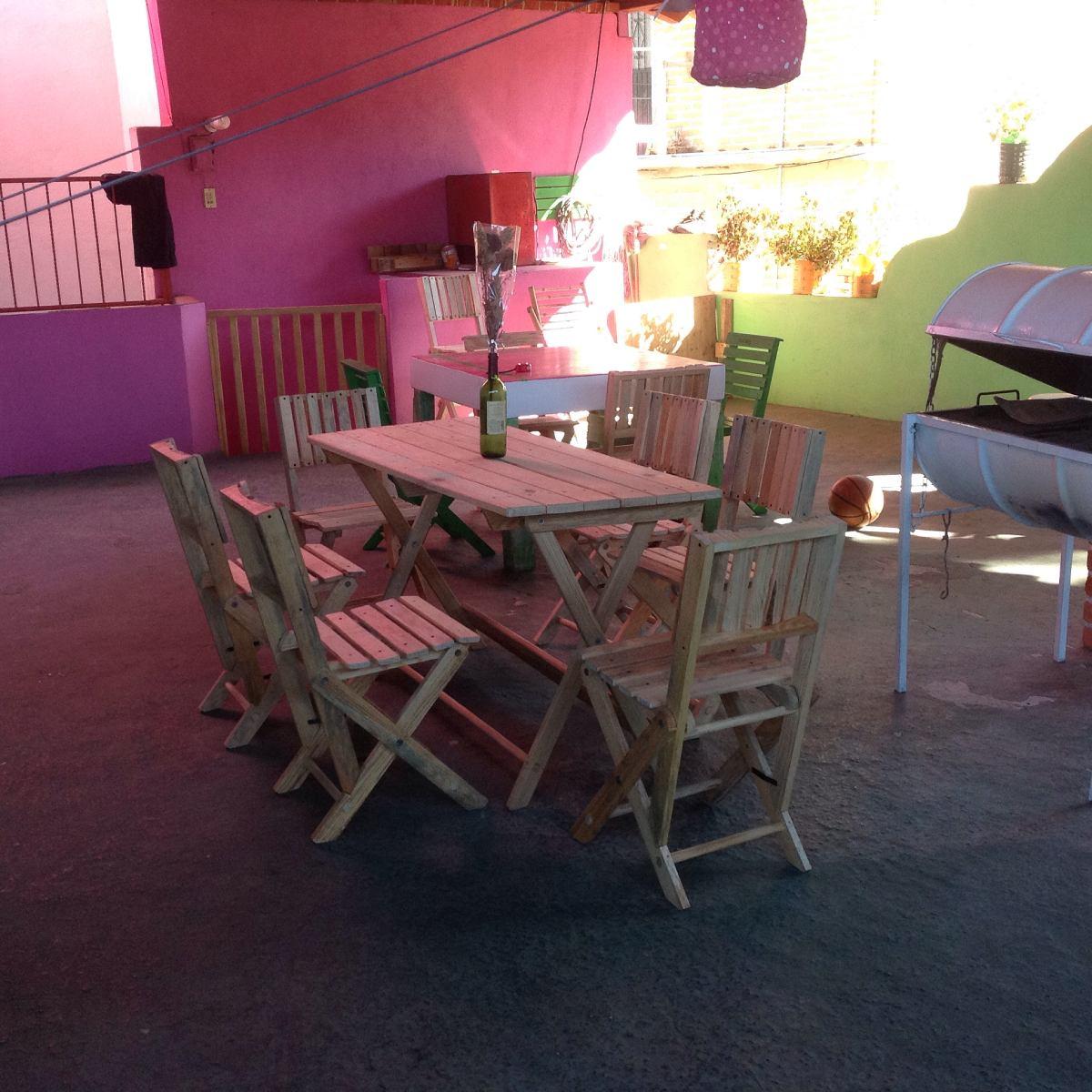 comedor de madera con 6 sillas 3 en mercado libre