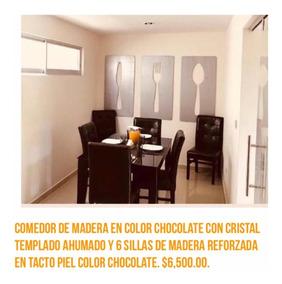 Comedor De Madera Con Cristal Templado Color Chocolate.